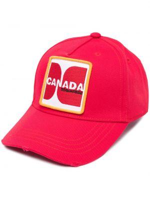 С ремешком хлопковая красная шапка Dsquared2