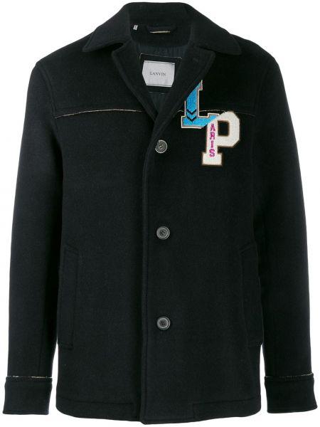 Klasyczny niebieski płaszcz wełniany Lanvin