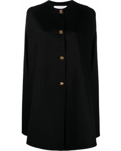 Wełniany czarny peleryna okrągły Valentino