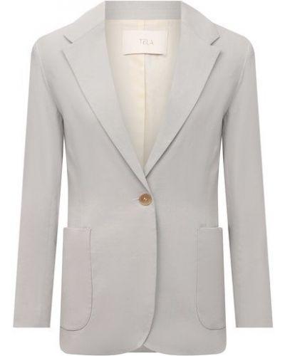 Льняной серый пиджак с подкладкой Tela
