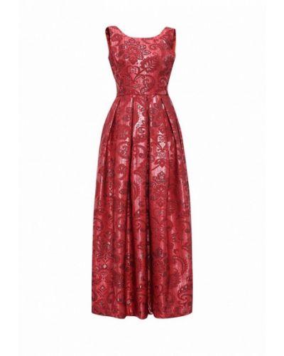 Платье макси красный осеннее Be In