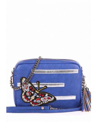 Синяя кожаный сумка Alba Soboni