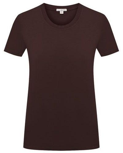 Хлопковая коричневая футболка James Perse