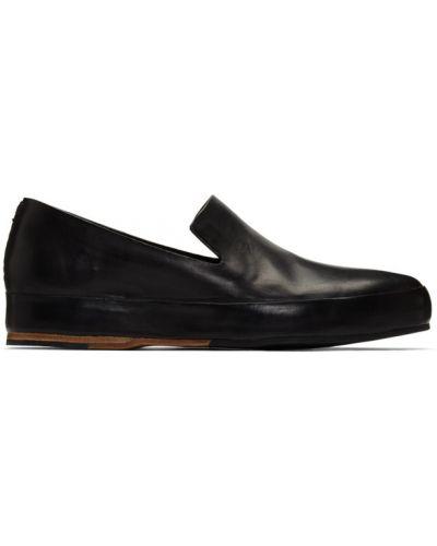 Czarny loafers z prawdziwej skóry okrągły na pięcie Feit