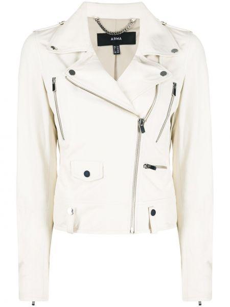 Белая классическая куртка на молнии с лацканами Arma