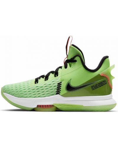 Текстильные зеленые баскетбольные кроссовки Nike