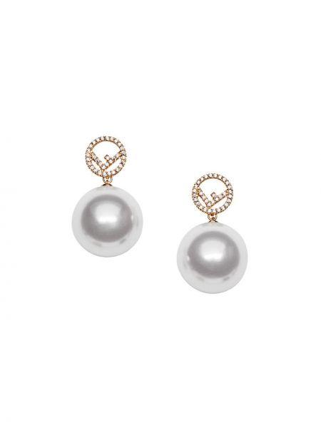 Kolczyki ze sztyftem kolczyki pierścionki z perłami Fendi