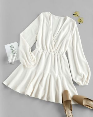 Платье мини с декольте с рукавами Zaful