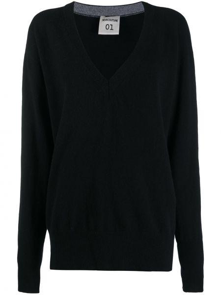 Черный шерстяной вязаный длинный свитер Semicouture
