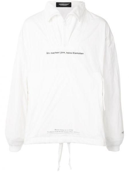 Bezpłatne cięcie biały pulower z długimi rękawami Undercover