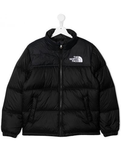 Стеганая черная куртка с перьями на молнии The North Face Kids