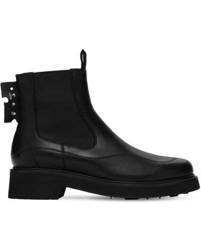Skórzany czarny buty obcasy z wkładkami na pięcie Off-white