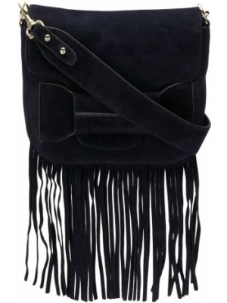 Парусиновая черная сумка через плечо с бахромой Tila March