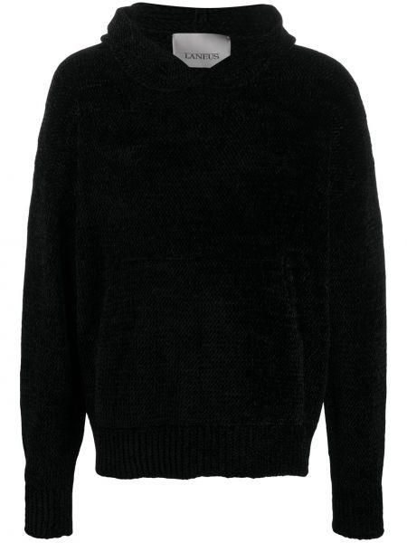Z rękawami czarny klasyczny pulower z kapturem Laneus