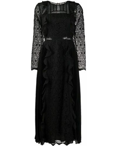 Черное платье миди на пуговицах со вставками с вырезом Self-portrait