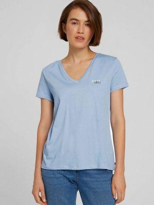 Голубая зимняя футболка Tom Tailor Denim
