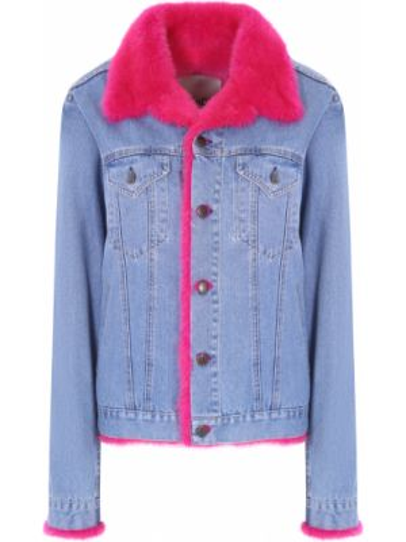 Джинсовая куртка розовая на пуговицах Rindi