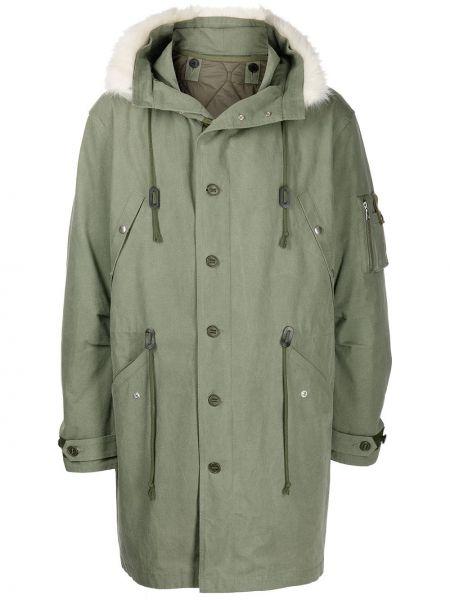Długi płaszcz z kapturem - zielony John Elliott