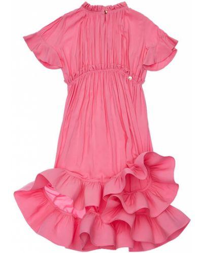 Розовое платье макси с воротником из вискозы Lanvin