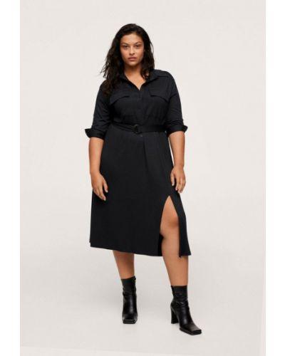 Платье рубашка - черное Violeta By Mango