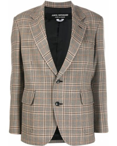Шерстяной коричневый классический пиджак в клетку Junya Watanabe