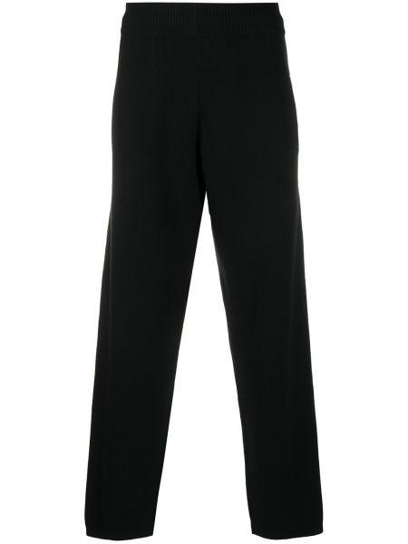 Прямые кашемировые черные спортивные брюки с поясом Barrie