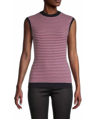 Prążkowany różowy sweter bez rękawów Boss Hugo Boss