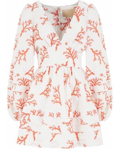 Приталенное с рукавами белое платье Maison Bohemique