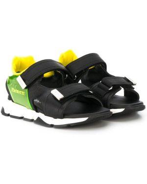 Кожаные черные сандалии на липучках Cesare Paciotti Kids
