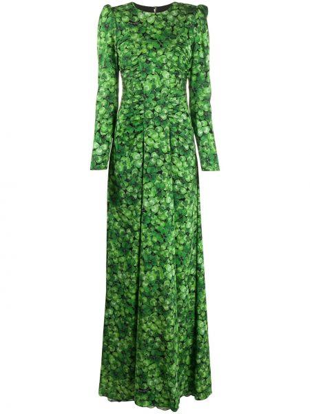 Шелковое платье макси с вырезом на молнии круглое Dolce & Gabbana