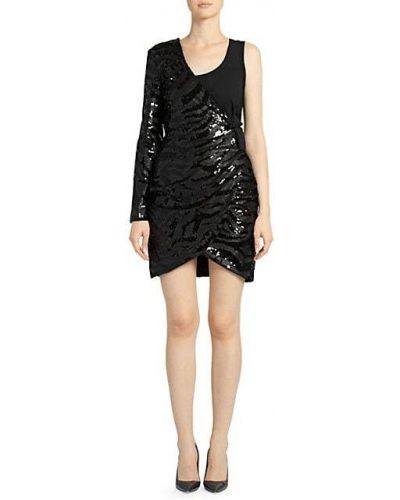 Черное платье мини с длинными рукавами в полоску Each X Other
