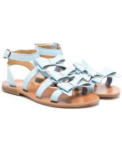 Niebieskie sandały skorzane płaska podeszwa Gallucci Kids