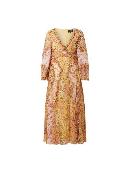 Sukienka rozkloszowana z falbanami - pomarańczowa Bardot