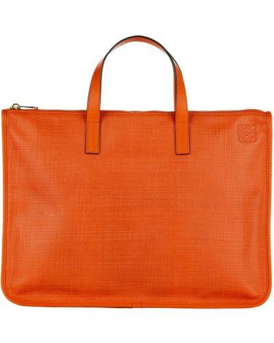 Pomarańczowa teczka skórzana Loewe Pre-owned