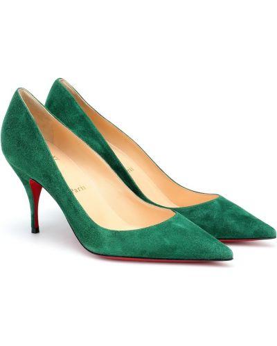 Zielone czółenka skorzane Christian Louboutin