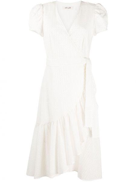 Белое платье мини со вставками с короткими рукавами с завязками Dvf Diane Von Furstenberg