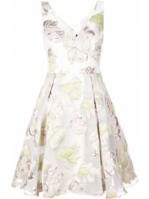 Платье мини с цветочным принтом из парчи Marchesa Notte
