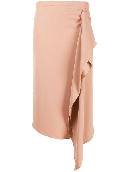 Асимметричная юбка миди на молнии в рубчик с драпировкой Rochas