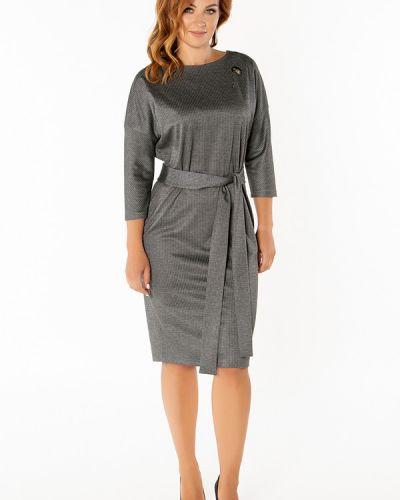 Платье с поясом серое в полоску Virgi Style