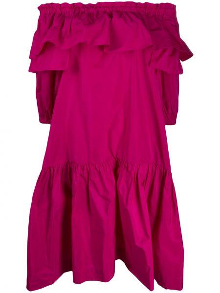 Платье миди с открытыми плечами с оборками P.a.r.o.s.h.