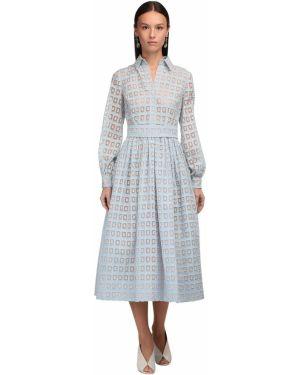 Платье макси с вышивкой с воротником с манжетами Luisa Beccaria