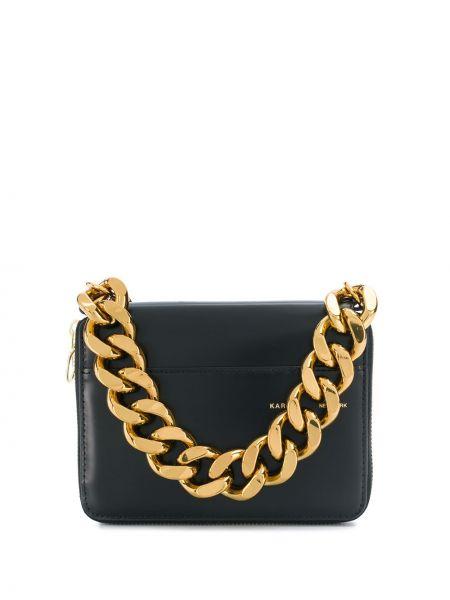 Кожаный золотистый черный кошелек прямоугольный Kara