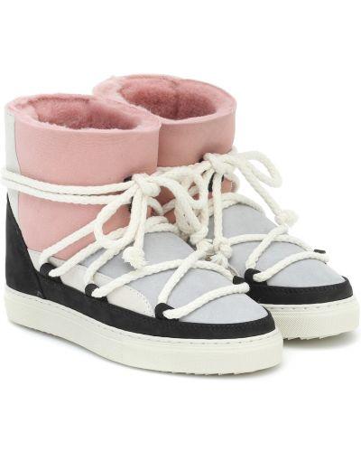 Розовые замшевые сапоги пэчворк Inuikii