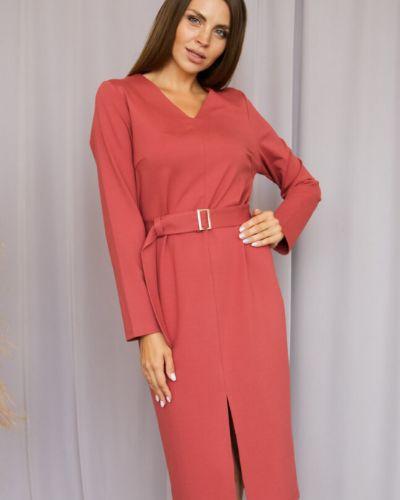 Деловое с рукавами платье-футляр с поясом Ellcora