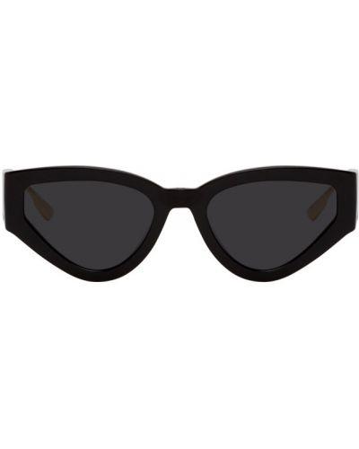 Кожаные черные солнцезащитные очки с тиснением Dior