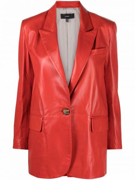 Кожаная куртка длинная - красная Arma