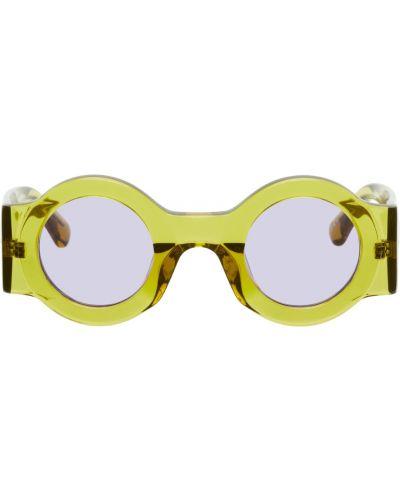 Żółte okulary skorzane Dries Van Noten