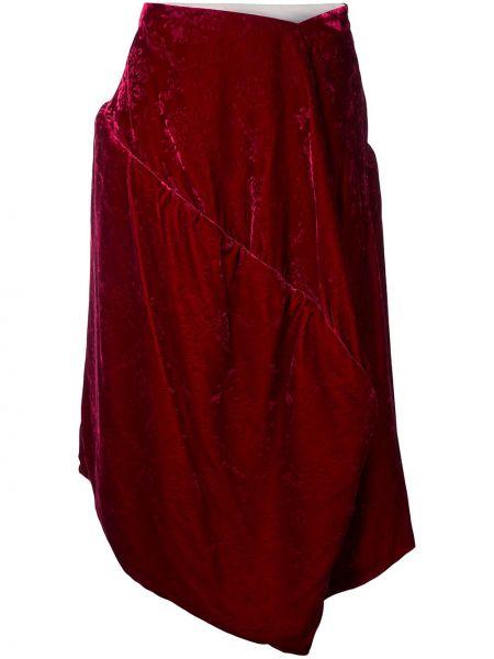 Красная бархатная асимметричная юбка винтажная Comme Des Garçons Pre-owned