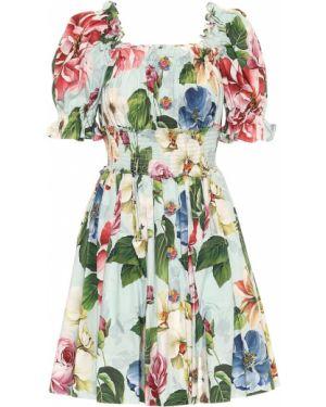 Платье мини с цветочным принтом годе Dolce & Gabbana