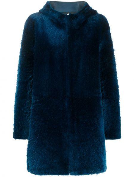 Синее кожаное пальто классическое с капюшоном Liska